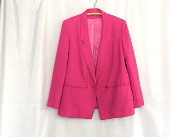 Pink Jacket Vintage Blazer Fuschia Magenta by Walden Place New York Women's Size 8 or Medium