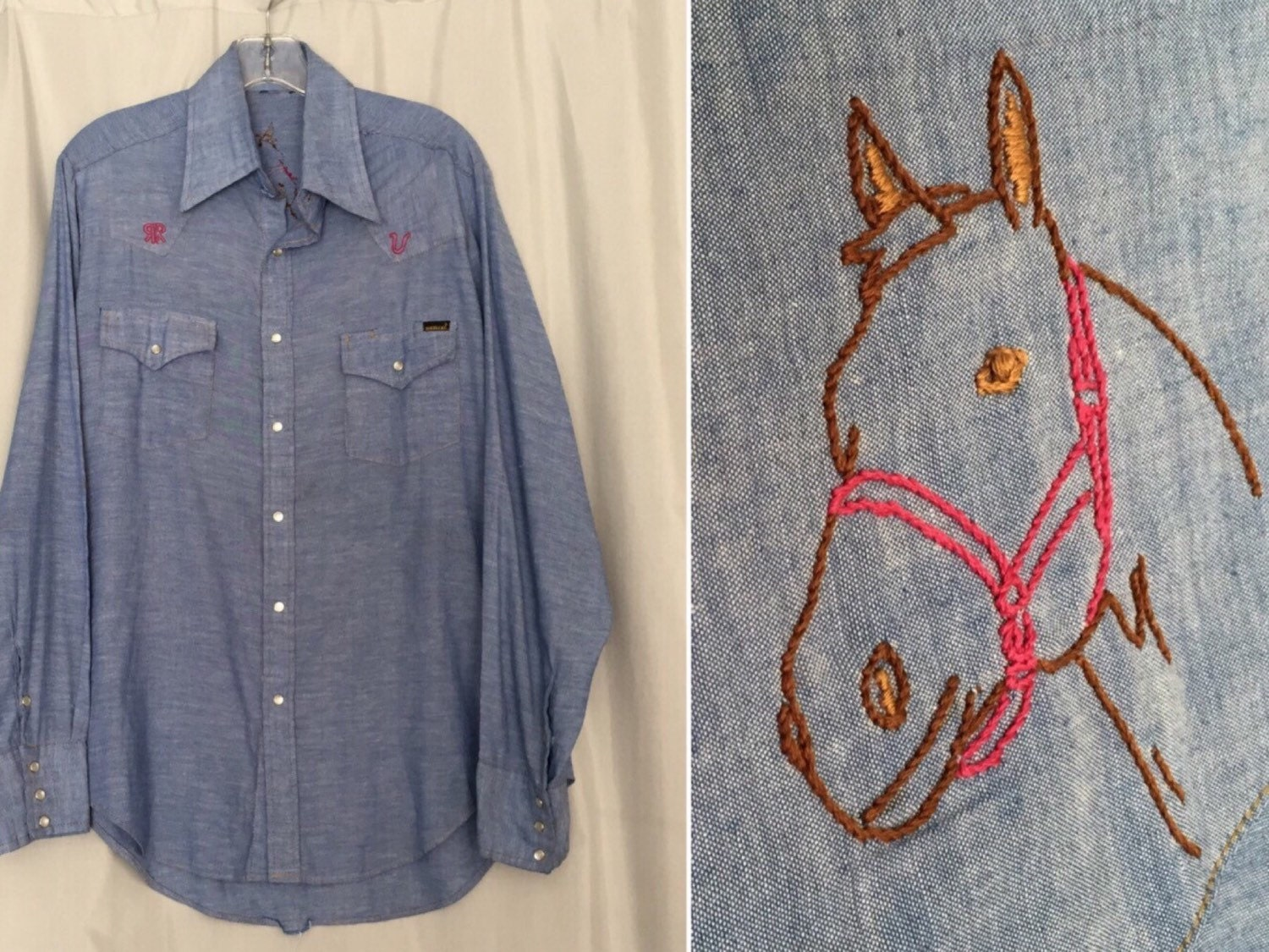 Horse shirt embroidered chambray denim blue jean