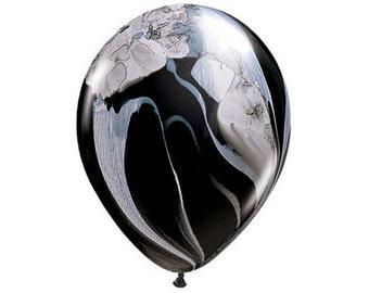 BLACK + WHITE MARBLE Balloon - Marbled Finish Agate Balloons in Black and White Marble Effect (28cm / 11 Inches)