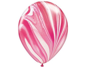 RED + WHITE MARBLE Balloon - Marbled Finish Agate Balloons in Red and White Marble Effect (28cm / 11 Inches)