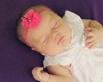 Pink Coming Home Headband - Pink Going Home Headband for Newborn - Pink Hospital Headband - Hot Pink Headband for Baby - Headband Photo Prop