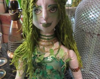 OOAK cloth doll art doll fantasy figure, Green fairy