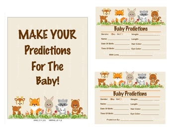 Woodland Predictions For Baby, Baby Predictions Card Baby Shower Game, Printable Predictions Card, DIY Baby Stats - Printables 4 Less 0087
