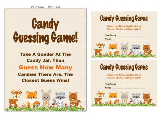 woodland candy guessing game guess how many baby shower. Black Bedroom Furniture Sets. Home Design Ideas