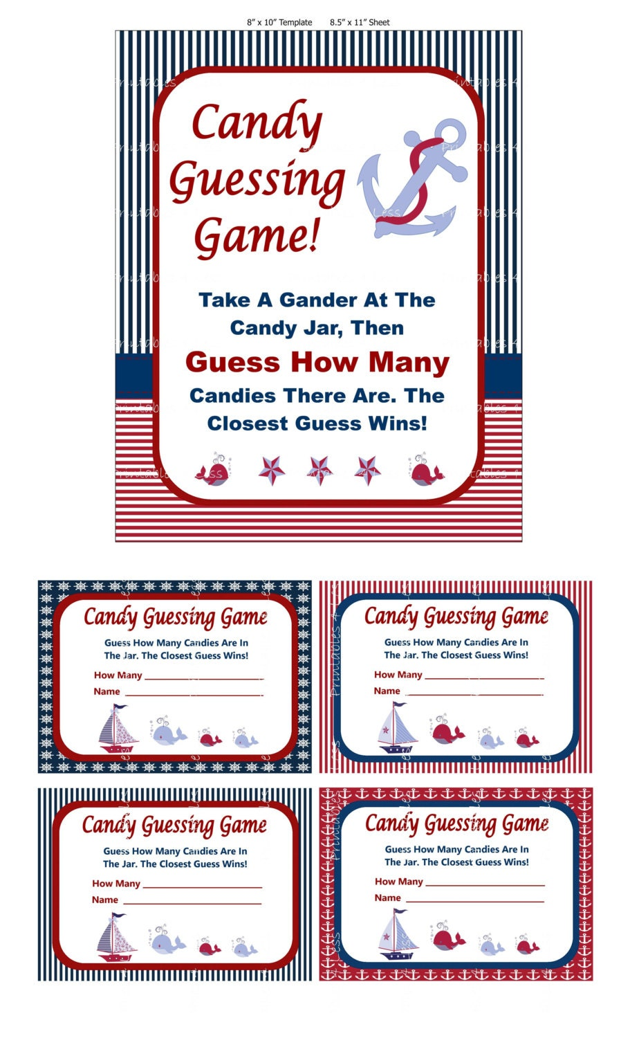 nautical candy guessing game printable baby shower candy. Black Bedroom Furniture Sets. Home Design Ideas