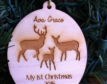 Rustic Baby's First Christmas Deer Family with Baby Deer & Buck and Doe Wood Christmas Ornament