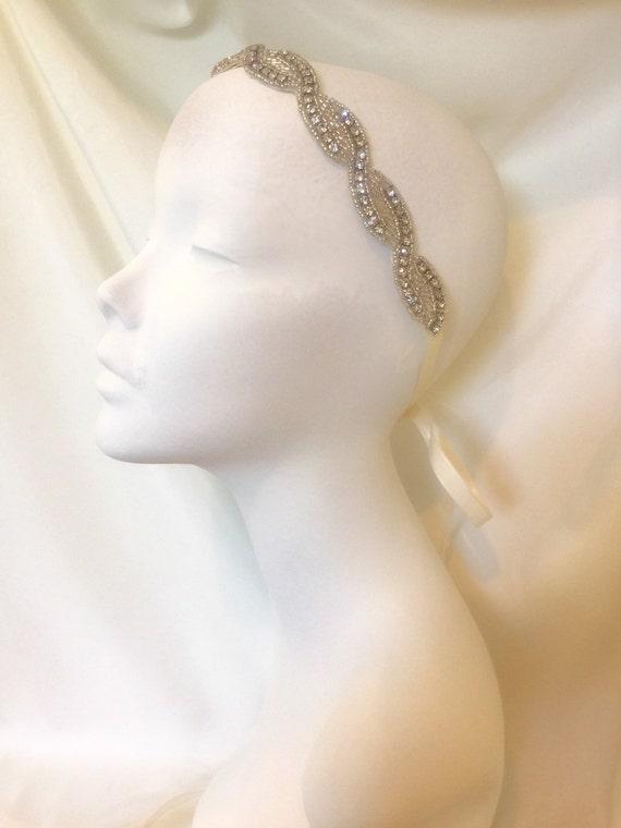 Headpiece . Weddings ,Bridal Headband, Sash, Bridal Accessory , Rhinestone Headband , Ribbon Headband , Ribbon Sash, Bridal Sash- Lina Bella