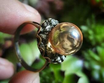 Tangerine aura quartz sphere ring adjustable