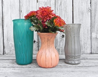 Shabby Chic Large Size Vase Set of Three, Colorful Vase Set, Painted Glass Vases