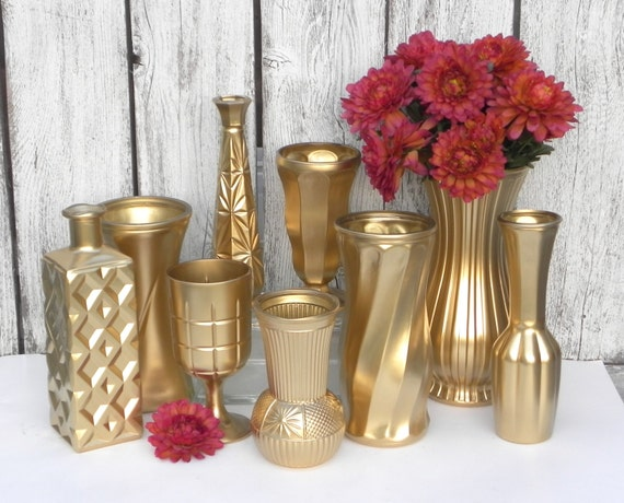 Items similar to Metallic Gold Vase Collection, Gold Vases ...