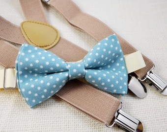 Dusty blue with white dot bow tie and Beige Suspender Set for baby/toddler/teen