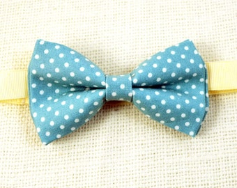 B111 Dusty blue with white dot  bow tie for Boy/Baby/Toddler/Teen/Adult/With adjustable strap/Clipon