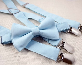 Baby Blue Bow tie and Suspender Set for baby/toddler/teen/adult/Men