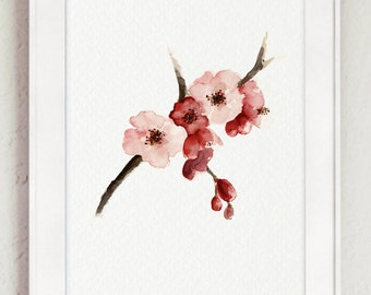 Cherry Blossom Watercolor Painting Sakura Tree Poster Abstract Pink