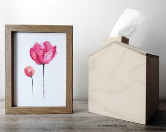 Peony Watercolor Painting, Pink Floral Home Decor, Abstract Flower Art Print, Peonies Fine Art Giclee Print