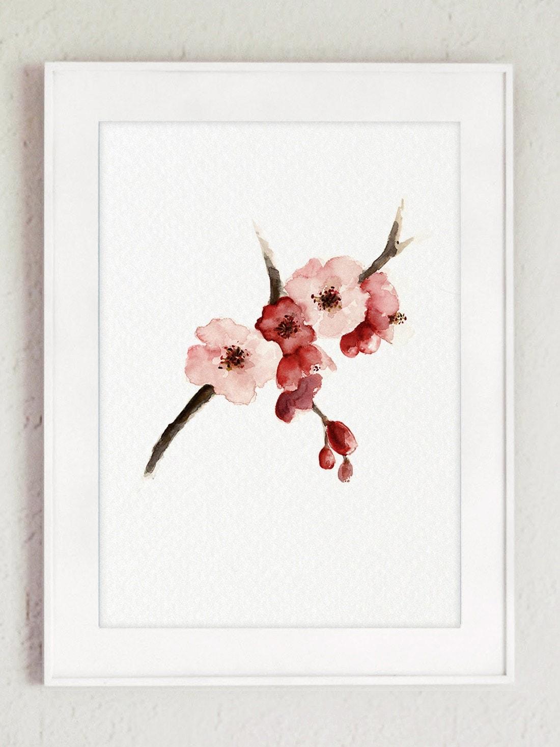 Cherry Blossom Watercolor Painting Sakura Tree Poster