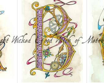 Matted Steampunk Initial Giclee Print