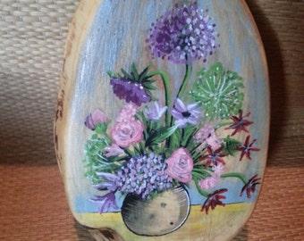 Flowers Painted on Wood