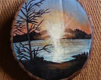 Sunset; Wood burned; hand painted