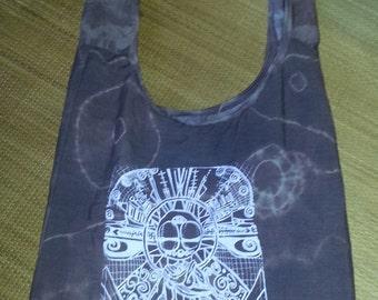 Zen Alien Bag/Purse: recycled, hand- printed, original Design; purple