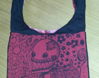 Psychedelic Robot bag/purse :recycled, hand- printed, original Design