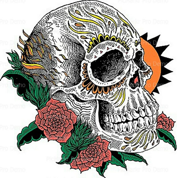 Halloween Skull & Roses - Edible Cake and Cupcake Topper For Birthday's and Parties! - D5831