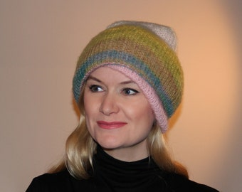"Knitted hat ""Forests, meadows and mountains"""