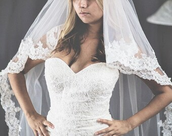 2 tier chapel length veil color ivory with comb