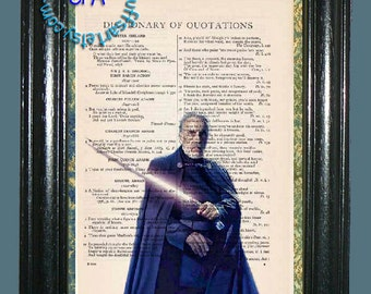 Count Dookus with his Light Saber Art -TWO PRINT SPECIAL - Beautifully Upcycled Vintage Dictionary Page Book Art Print