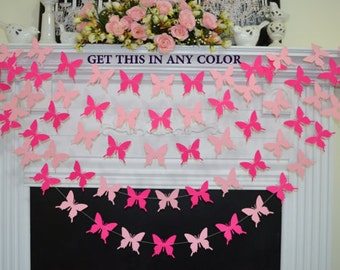 Butterfly garland, pink butterflies, gold butterfly theme birthday banner, baby shower decoration, baby room decor, butterfly banner, gold