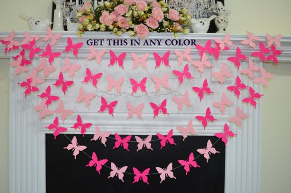 Butterfly garland pink butterflies gold butterfly theme for Butterfly themed bedroom ideas