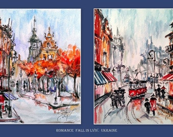 SALE! NEW! Romance Fall In Lviv. Two art print.