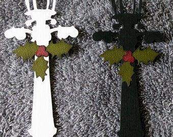 Lamp Post with Holly and Berries Die-Cut -- Set of 2 -- Handmade in USA