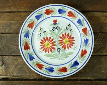Georgous HB Quimper Flower Motif Faience Plate - Antique French Faience - Qimper Faience Plate - hand painted faience plate