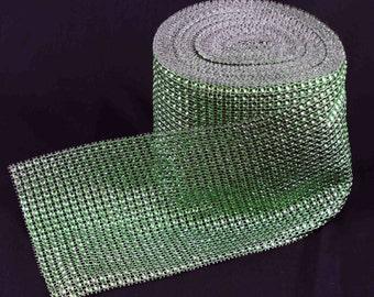 1 metre (39 inch) of Lime Green-coloured Diamante Mesh (24 rows)