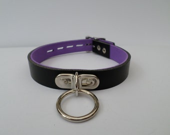 real leather lockable bondage fetish slave bdsm collar 20mm wide with a 25mm ring and padlock buckle
