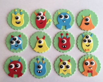 Monster Cupcake Toppers - Fondant