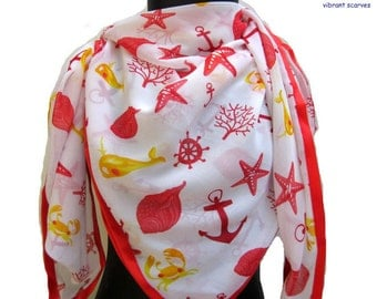 Fashion scarf/ Multicolored scarf/ lucky signs scarf/ georgette scarf/ red scarf / white scarf /  gift ideas.