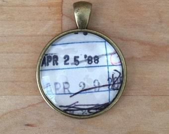 Vintage Library Checkout Card Necklace - April 25, 1988