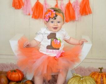 Halloween Fall Thanksgiving first 1st birthday embroidered pumpkin tutu outfit headband pink orange brown