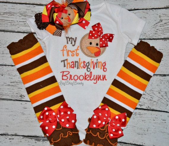 Thanksgiving Baby Girl Bodysuit Leg Warmers Sets