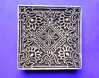 Hand Carved Large Square 4 inch Wood Stamp Large Floral Motif Textile Indian Print Block