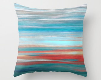 Throw Pillow Cover Teal Grey Aqua Red Abstract Modern Home Decor Living Room Bedroom Accessories Cushion