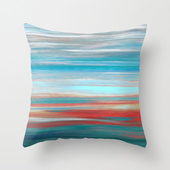 Modern Teal Decorative Throw Pillow : Throw Pillow Cover Teal Grey Aqua Red Abstract Modern Home