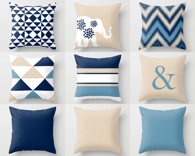 Beige Throw Pillow Covers : Navy Beige Pillow Covers Throw Pillows Decorative Pillow