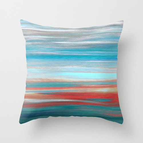 Modern Abstract Pillow : Throw Pillow Cover Teal Grey Aqua Red Abstract Modern Home