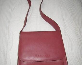 Gabbiani Genuine Leather Cherry Red Shoulder Bag