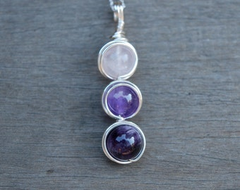 Rose Quartz + Amethyst Three Wire Wrapped Pendant (Free shipping in Canada!)
