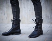35% Sale, Black Boots, Soft Leather Boots, Lace Up Boots, Handmade Boots, Women's Shoes In Black, Gift For Her, Mateo