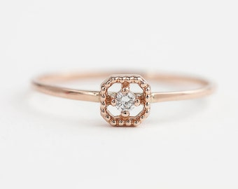 14k rose gold diamond ring, tiny diamond ring, square setting, antique inspired ring, yellow gold, rose gold, white gold option